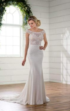 D2298 Off The Shoulder Wedding Gown With Lace Train By Essense Of Australia 2017 Bridal