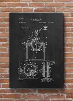 Coffee Mill Patent Print Coffee Patent Kitchen Decor by dalumna