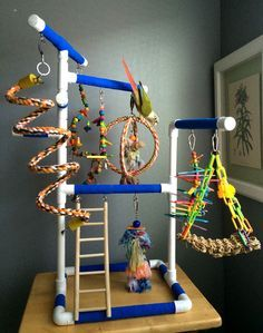 Pet Bird Stuff... Blue Medium Tabletop Cagetop PVC Bird Gym Play Stand with Ladder Perches.  This would be fun to make.