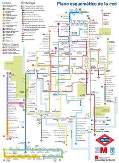 Madrid Subway (Metro) Map. Transport in Madrid, Spain. Madrid Underground Subway Line Maps.  Cuatro casinos