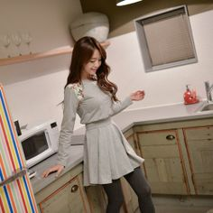 This dress is so adorable. I wish I could pull it off. Korean Fashion Dress, Korean Dress, Fashion Dresses, Melinda Gordon, Gray Dress, My Style, Blouse, Long Sleeve, Cotton