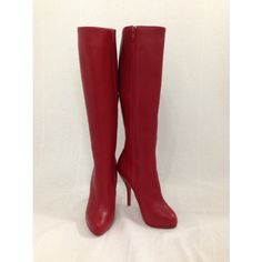 """Stroll around the city in these ravishing red Christian Louboutin similar to the """"Botalili"""" Knee-high boots featuring a rare covered platform. Color : Red Material : Leather Heel height : 100mm / 4"""" Front platform : 20mm/ 3/4' Arch size : 85mm Size: 37/ US 7 Leg circumference, 14"""""""