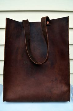 HANDMADE LEATHER TOTE Bag by Little Lion Man -  Brown Book Bag Carry-All Luggage Briefcase Grocery Messenger Hip Hand Stitched
