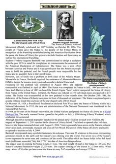the statue of liberty test worksheet - Free ESL printable worksheets made by teachers Reading Comprehension Activities, Reading Fluency, Reading Passages, Listening Activities, English Stories For Kids, English Lessons, Learn English, English Story, English Reading