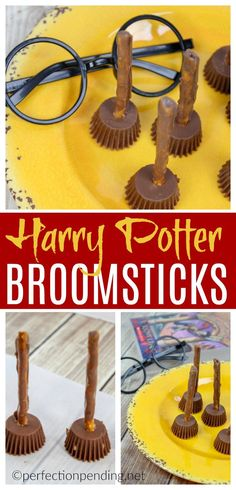 Simple Harry Potter Broomsticks Halloween Treat - Perfection pendingIf you're a Harry Potter fan, these Harry Potter brooms are the perfect Halloween party food! If you are not planning a Halloween party, these are perfect Baby Harry Potter, Harry Potter Baby Shower, Harry Potter Enfants, Gateau Harry Potter, Harry Potter Fiesta, Harry Potter Decor, Harry Potter Desserts, Harry Potter Recipes, Harry Potter Crafts Diy