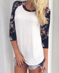 Chic Scoop Collar 3/4 Sleeve Spliced Floral Print T-Shirt For Women (WHITE,M) | Sammydress.com Mobile