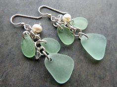 Sea Glass Earrings  Chandelier Beach Seaglass by TheMysticMermaid