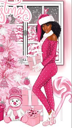 Christmas Doodles, Pink Christmas, Merry Christmas, Xmas, Baby Wallpaper, Wallpaper Backgrounds, Wallpapers, Collage Artists, Black Women Art