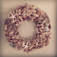 Beachy Wine Cork Wreath - perfect for the front door of our Jewel of the Isle
