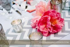 Coral charm peony & Chevron table runner.  Photo by @Olivia Leigh