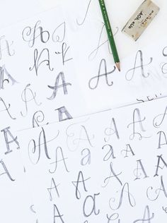 introduction to lettering - One way to discover the many variations of a single letter is by utilizing tracing paper. Draw the main body of your letter on white paper. Then, using the tracing paper, trace that same letter, varying a small detail each time.