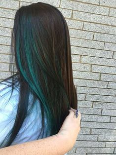 Trendy Hair Color Blue Peekaboo Bangs Ideas - All For Hair Color Balayage Blue Hair Highlights, Hair Color Streaks, Hair Color Blue, Cool Hair Color, Purple Hair, Colored Highlights, Summer Highlights, Green Hair Streaks, Blue Streak In Hair