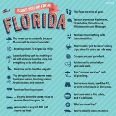 I'm not a native Floridian but, I lived there long enough to know years), and I can pronounce everyone of those names like a native! Signs You're from Florida . ALL TRUE Florida Quotes, Florida Funny, Florida Girl, Florida Living, Old Florida, State Of Florida, Florida Beaches, Florida Humor, Pensacola Florida