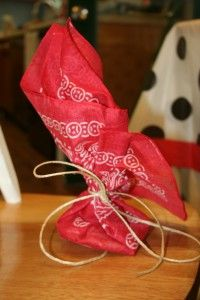 party bags in bandana cute for cowboy or cowgirl party