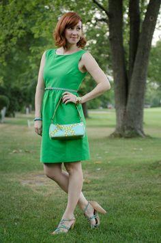 green #JCrew dress, #katespade bag, @Seychelles heels