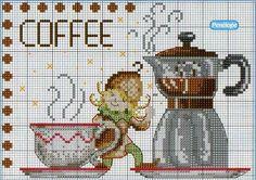 Gallery.ru / Фото #98 - Куда мы еще можем применить вышивку - anethka  Not tea- coffee, but look at the adorable brownie