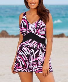 96fbc85d6f4ba Beach Belle Whirlpool Plus Size V-Neck Swimdress -  51.00 from   SwimsuitsForAll.com