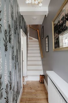 Entrance hallway with Suzy Hoodless feature wallpaper and Farrow & Ball Charleston Grey walls (also starring Billy the Cat) Grey Wallpaper Hallway, Hall Wallpaper, Feature Wallpaper, Wallpaper Ideas, Bedroom Wallpaper, Hallway Wall Decor, Hallway Walls, Hallway Decorating, Hallway Ideas