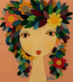 Handmade Felt Fairy Girl Woman Portrait Flower Floral Leaves Magical Mystical Unique Feminine Artwork Wall Hanging