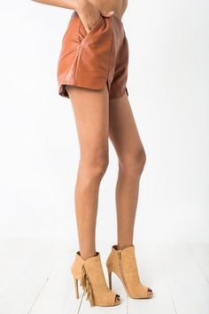 Cheryl Leatherette Shorts #bottoms #charlies-angels #cheryl #chic #cool #fall #leather #leatherette #retro #shorts #tawny #vegan #winter #women #womens