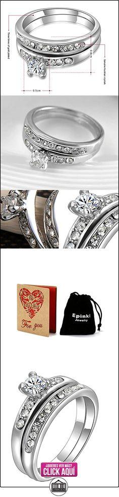 Anillo chapado en oro blanco, redondo brillante Circonita Cúbica de Corte CZ anillo de compromiso Set para las mujeres  ✿ Joyas para mujer - Las mejores ofertas ✿ ▬► Ver oferta: https://comprar.io/goto/B01F8SBQKQ
