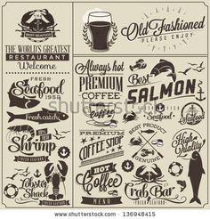 Collection of retro vintage style restaurant menu designs.