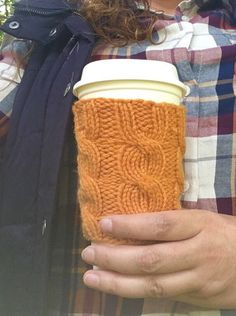 A personal favorite from my Etsy shop https://www.etsy.com/listing/124207182/coffee-cup-sleeve-coffee-mug-cozy-cable