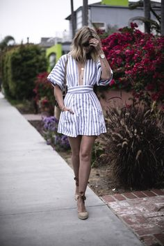 87783c807 EJ Style | Blue white stripe linen dress by Reformation, ASOS wedge  espadrilles, Venice