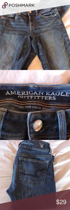 AE 4x stretch kick boot jeans Dark wash American eagle kick boot jeans. 4x aro stretch. Mid rise, minimal wear. No signs of wear American Eagle Outfitters Jeans Boot Cut