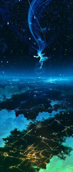 Pixiv Blue Fly Jump Sky