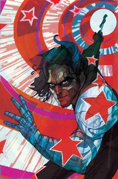 Bucky Barnes: The Winter Soldier #3 cover •Christian Ward | Okay, I'm excited about this series but the covers don't make me happy. Did Bucky join the circus or something?