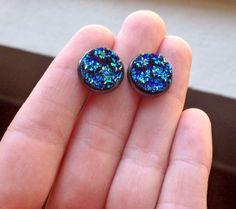 Peacock blue druzy stone earrings https://www.etsy.com/listing/187747921/blue-peacock-druzy-stud-earrings?ref=shop_home_active_1
