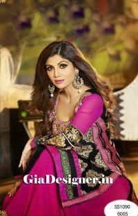 Shilpa Shetty Pink Black Designer Anarkali Bollywood Replica Suit2