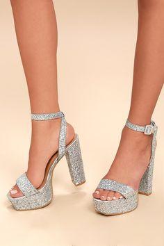 7a85710dcf03 Estelle Silver Glitter Platform Ankle Strap Heels