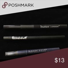 "BUNDLE: Eyeliners Included is the Butter London felt tip liquid eyeliner in ""union jack black"", Be a Bombshell kohl liner in ""black"" and the Marcelle waterproof liner in ""indigo""  **all never used** Makeup Eyeliner"