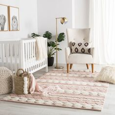 Nikki Chu by Jaipur Living Elixir Handmade Geometric Pink/ Ivory Area Rug - Mumbai collection designed by Nikki Chu provides global and modern spaces with easy versatility and inviting texture. The Elixir area rug features a banded ge Baby Bedroom, Baby Boy Rooms, Baby Room Decor, Girl Nursery Rugs, Baby Nursery Ideas For Girl, Nursery Area Rug, Baby Girl Nurseries, Nursery Crib, Baby Room Rugs