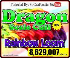 Rainbow Loom #5 Dragon Scale Cuff Bracelet By SoCraftastic