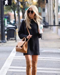Cozy sweater dress with camel over-the-knee boots and crossy-body bag
