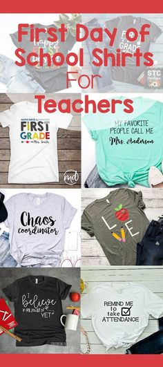 Have a happy first day of school with these cute teacher shirt ideas. Welcome your class into the new year with a fun saying on your shirt. Kindergarten Teacher Shirts, Elementary Teacher, School Teacher, Elementary Schools, School Fun, First Grade Activities, Teaching First Grade, Kindergarten Activities, Preschool