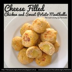 Cheese filled chicken and sweet potato meatballs