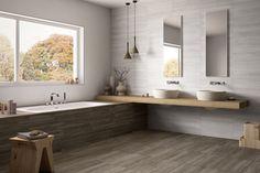 Newport Grey & Newport White Artistic tile 12x24 Beyond the Backsplash: Innovative Uses For Tile and Mosaics | California Home + Design