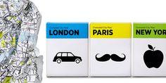 Berlin based graphic designer Alvvino designed the packaging for Crumpled City Maps. Design Art, Graphic Design, Barcelona, London Map, New Paris, City Maps, New York, Office Art, Art Furniture