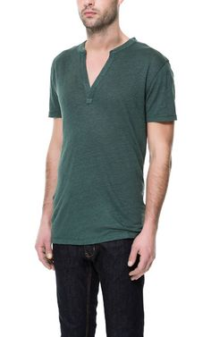 LINEN BUTTON NECK T-SHIRT from Zara