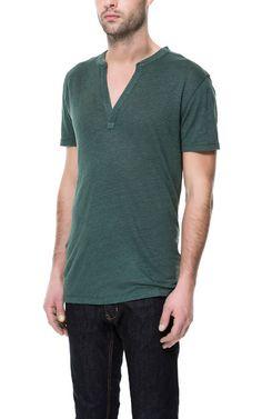 LINEN BUTTON NECK T-SHIRT from Zara