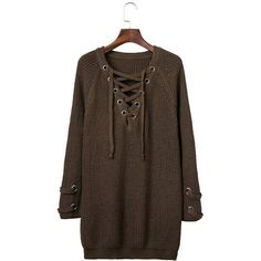 Yoins Army Green Lace-up Knit Long Raglan Sleeves Sweater ($33) ❤ liked on Polyvore featuring tops, sweaters, brown, lace up sweater, knit raglan sweater, knit top, army green sweater and long tops