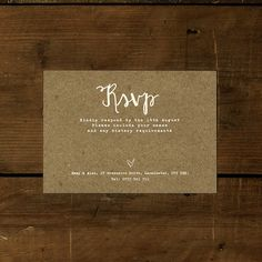 White Calligraphy Kraft Effect Rustic Wedding by FeelGoodInvites