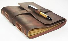 Leather Journal Travel Diary with Bamboo Style Pen - Artisan Grade - Handmade Leather Journal by Case Elegance Leather Travel Journal, Leather Notebook, Leather Gifts, Handmade Leather, Rose Gold Pen, Bamboo Pen, Journal Diary, Thick Leather, Last Minute Gifts