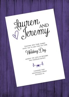 Purple Wedding Invitation Jpeg File by MKCPhotography5 on Etsy, $10.00