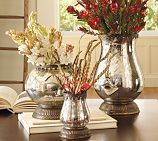 old glass vases or silverplated discards - with a spray bottle of water and mirror paint spray