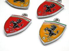 Lot of 4 Mini Ferrari Sign Logo Red and Yellow symbol Vehicle F1 Super Car Enameled Pendant Charms